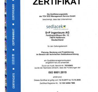 DIN ISO 9001 S+P Ingenieure AG Sedlacek Ingenieure Heilbronn